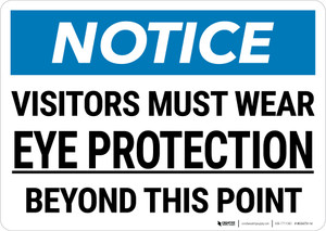 Notice: PPE Visitors Must Wear Eye Protection Landscape - Wall Sign