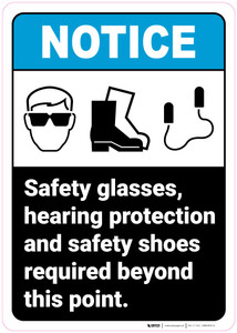 Notice: Safety Glasses Hearing Protection Shoes Required With Icons Portrait ANSI - Wall Sign