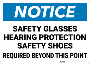 Notice: Safety Glasses Hearing Protection Shoes Required Beyond This Point Landscape - Wall Sign