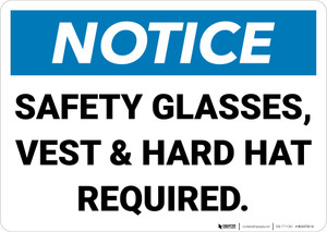 Notice: Safety Glasses Vest And Hard Hat Required Landscape - Wall Sign