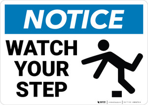 Notice: Watch Your Step Person Tripping Icon Landscape - Wall Sign