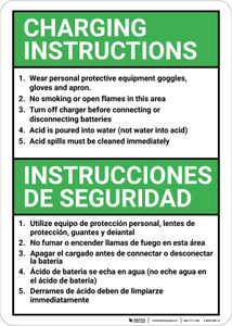 Bilingual Spanish Battery Charging Instructions - Wall Sign