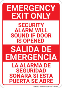 Bilingual Spanish Emergency Exit Only - Wall Sign