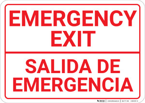 Bilingual Spanish Emergency Exit - Wall Sign