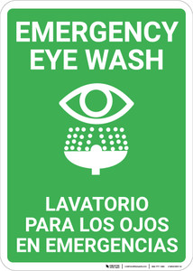 Bilingual Spanish Eye Wash - Wall Sign