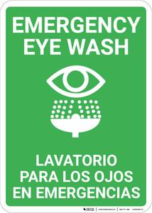 Bilingual Spanish Eye Wash - Wall Sign