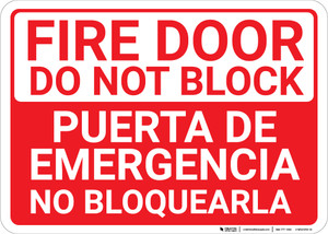 Bilingual Spanish Fire Door Do Not Block - Wall Sign