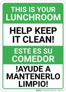 Bilingual Spanish Keep Lunchroom Clean - Wall Sign