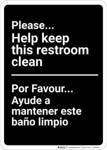 Bilingual Spanish Keep Restroom Clean - Wall Sign