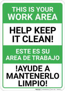 Bilingual Spanish Keep Work Area Clean - Wall Sign