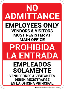 Bilingual Spanish No Admittance Employees Only Vendors And Visitors - Wall Sign
