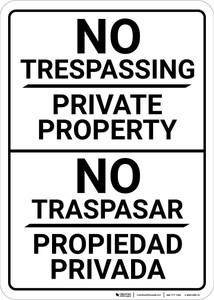 Bilingual Spanish No Trespassing Private Property - Wall Sign