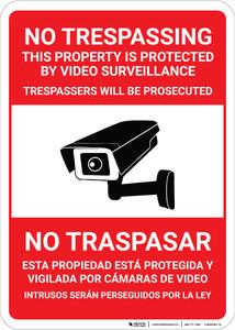 Bilingual Spanish No Trespassing With Camara Icon - Wall Sign