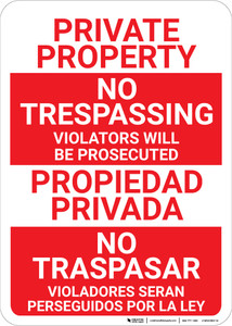 Bilingual Spanish No Trespassing Without Icon - Wall Sign