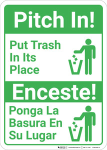 Bilingual Spanish Pitch In - Wall Sign
