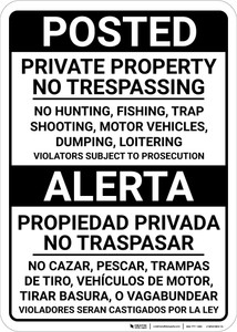 Bilingual Spanish Posted Private Property - Wall Sign