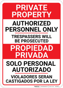 Bilingual Spanish Private Property Authorized Personnel Only - Wall Sign