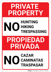 Bilingual Spanish Private Property No Hunting Hiking - Wall Sign