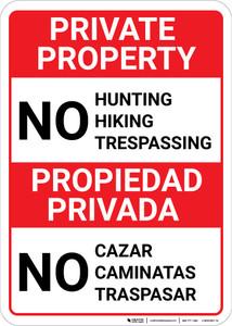 Bilingual Spanish Private Property No Hunting Hiking - Wall Sign