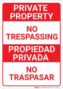 Bilingual Spanish Private Property No Trespassing Red & White - Wall Sign