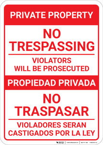 Bilingual Spanish Private Property No Trespassing violators - Wall Sign