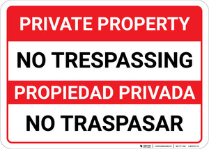 Bilingual Spanish Private Property No Trespassing Landscapee - Wall Sign