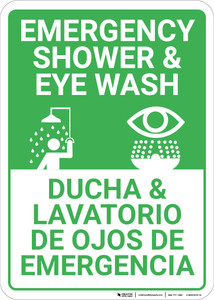 Bilingual Spanish Shower Eye Wash - Wall Sign