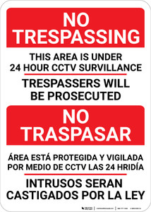 No Trespassing: Bilingual Spanish Surveillance - Wall Sign