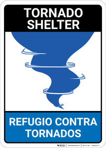Bilingual Spanish Tornado Shelter - Wall Sign