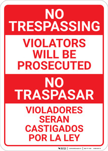 No Trespassing: Bilingual Spanish Violators Red & White - Wall Sign