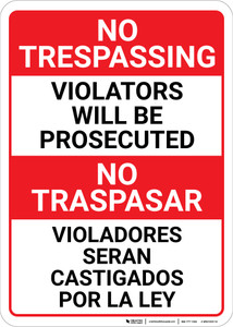 No Trespassing: Bilingual Spanish Violators Red-White & Black - Wall Sign