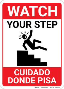 Bilingual Spanish Watch Your Step - Wall Sign