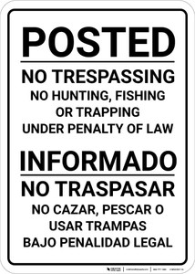 Bilingual Spanish Posted Private Property Black & White-Portrait - Wall Sign