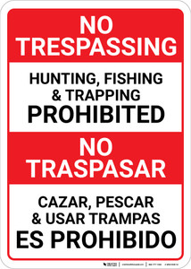 No Trespassing: Bilingual Spanish Posted Private Property Portrait - Wall Sign