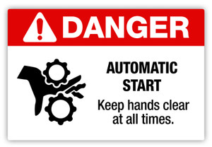 Danger - Automatic Start Label