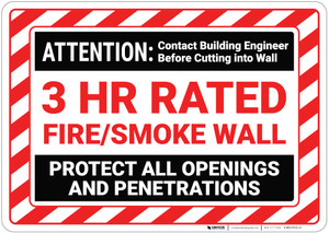 Attention Fire Smoke Wall with Hazard Border Landscape - Wall Sign