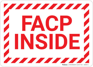 FACP Inside with Hazard Border Landscape - Wall Sign