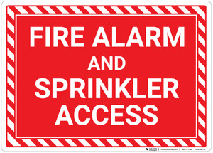 Fire Alarm And Sprinkler Access with Hazard Border Landscape - Wall Sign