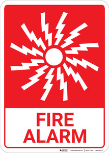 Fire Alarm with Icon Portrait - Wall Sign