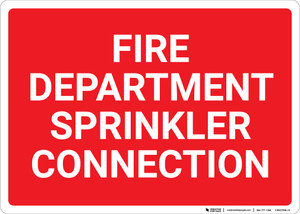 Fire Department Sprinkler Connection Red Landscape - Wall Sign
