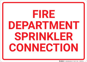 Fire Department Sprinkler Connection White Landscape - Wall Sign