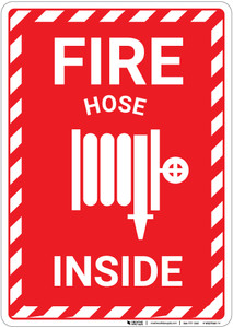 Fire Hose Inside Sign with Icon and Hazard Border Portrait - Wall Sign