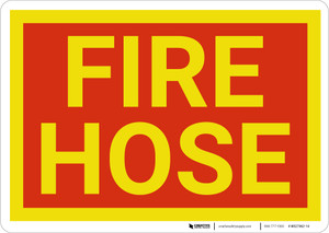 Fire Hose Red and Yellow Landscape - Wall Sign