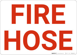 Fire Hose White Landscape - Wall Sign