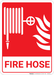 Fire Hose with Icons Portrait - Wall Sign