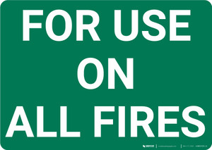 For Use On All Fires Landscape - Wall Sign