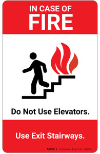In Case Of Fire Do Not Use Elevators with Icon Portrait - Wall Sign