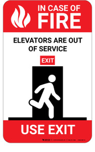In Case Of Fire Elevators Are Out Of Service with Icon Portrait - Wall Sign