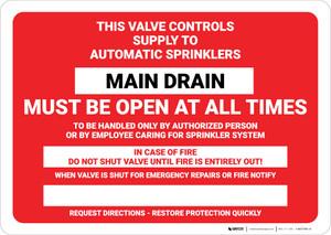 Main Drain Fire Sprinkler Identification Landscape - Wall Sign