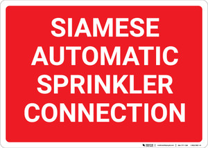 Siamese Automatic Sprinkler Connection Red Landscape - Wall Sign